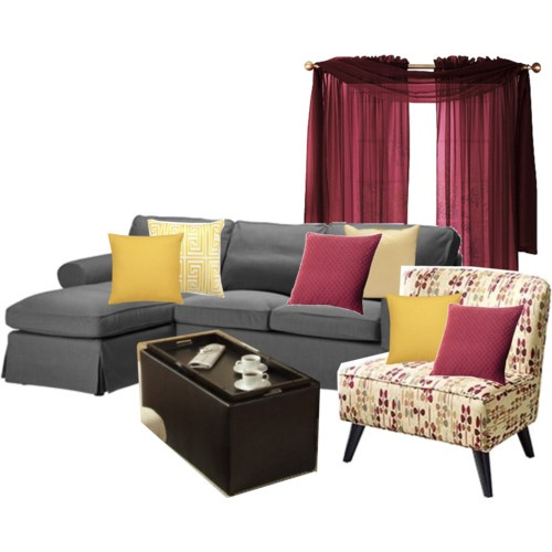 Beautiful Living Room Redecoration, Option 1: Grey, Beige, Yellow, Burgundy Part 32