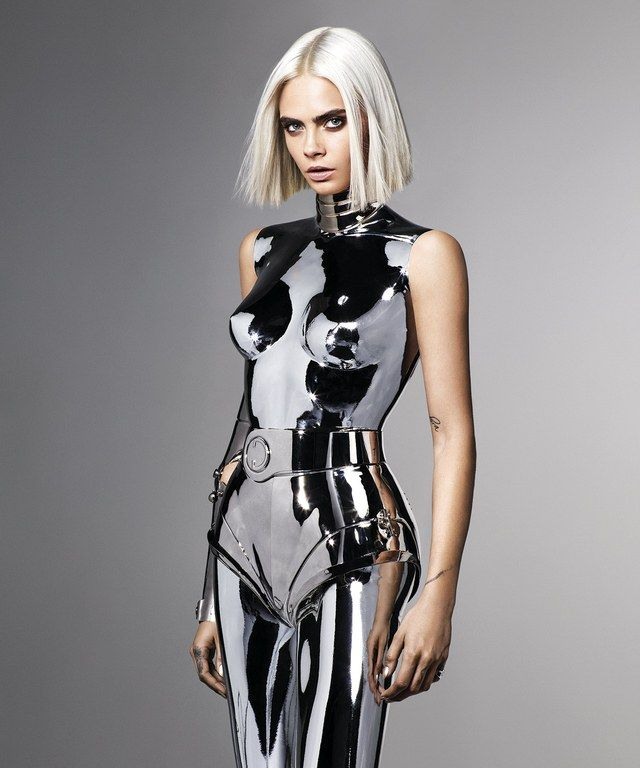 Cara Delevingne for British GQ by Mariano Vivanco wearing Thierry Mugler Photographer: Model: Styling: Hair: Makeup: Retouch: Wearing: Wor Look Fashion, Fashion Models, High Fashion, Womens Fashion, Fashion Design, Fashion Beauty, Space Fashion, Latex Fashion, Metal Fashion