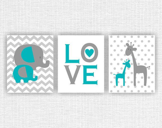 Animales de la selva de color turquesa y gris, elefante, jirafa, amor, Baby Boy sala sala de juegos decoración arte, conjunto de animales de 3, 8 x 10, descarga inmediata