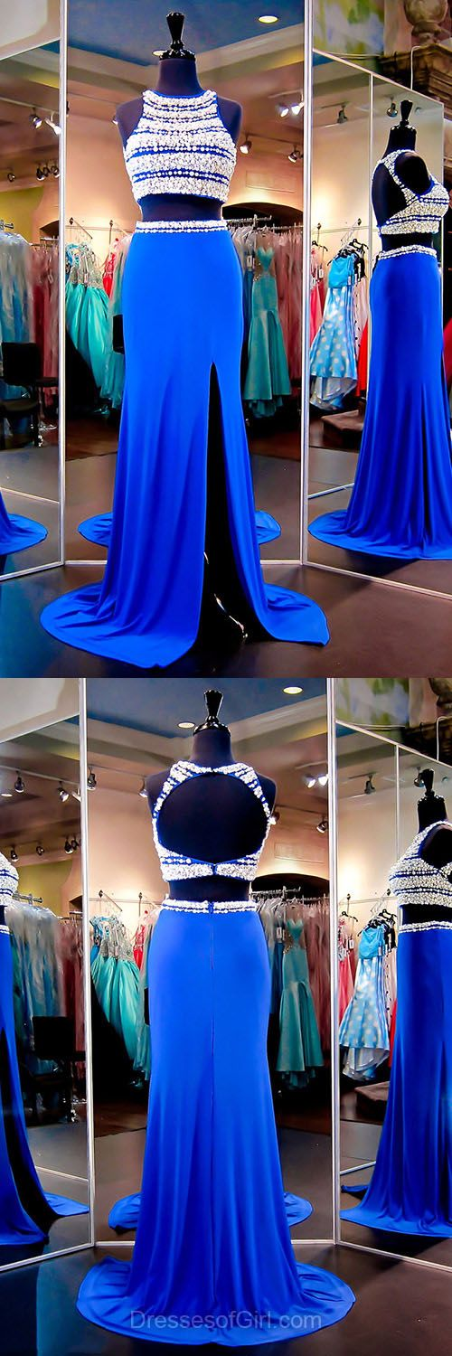 Two Piece Prom Dresses, Royal Blue Formal Dresses, Long Party Gowns, Chiffon Tulle Graduation Dresses, Scoop Neck Evening Dresses