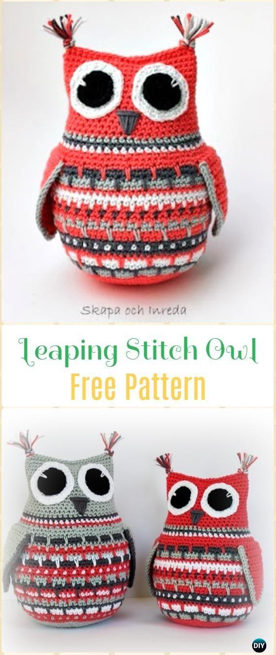 Crochet Leaping Stitch Owl Amigurumi Free Pattern - Amigurumi Crochet Owl Free Patterns