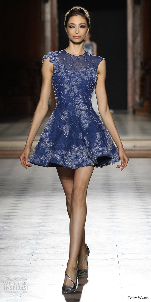 tony ward couture fall winter 2015 2016 look 1 cap sleeve blue embellished mini dress