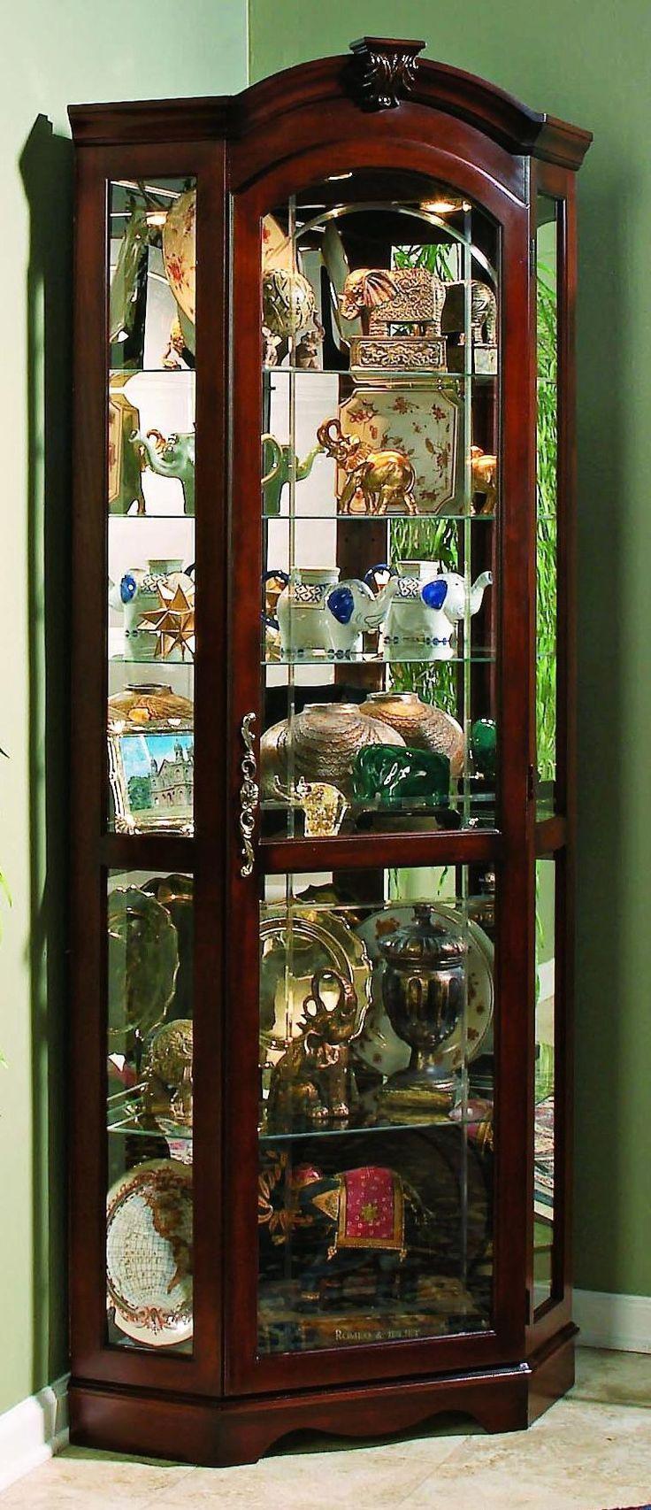 Medallion Cherry Finish Corner Curio Cabinet -