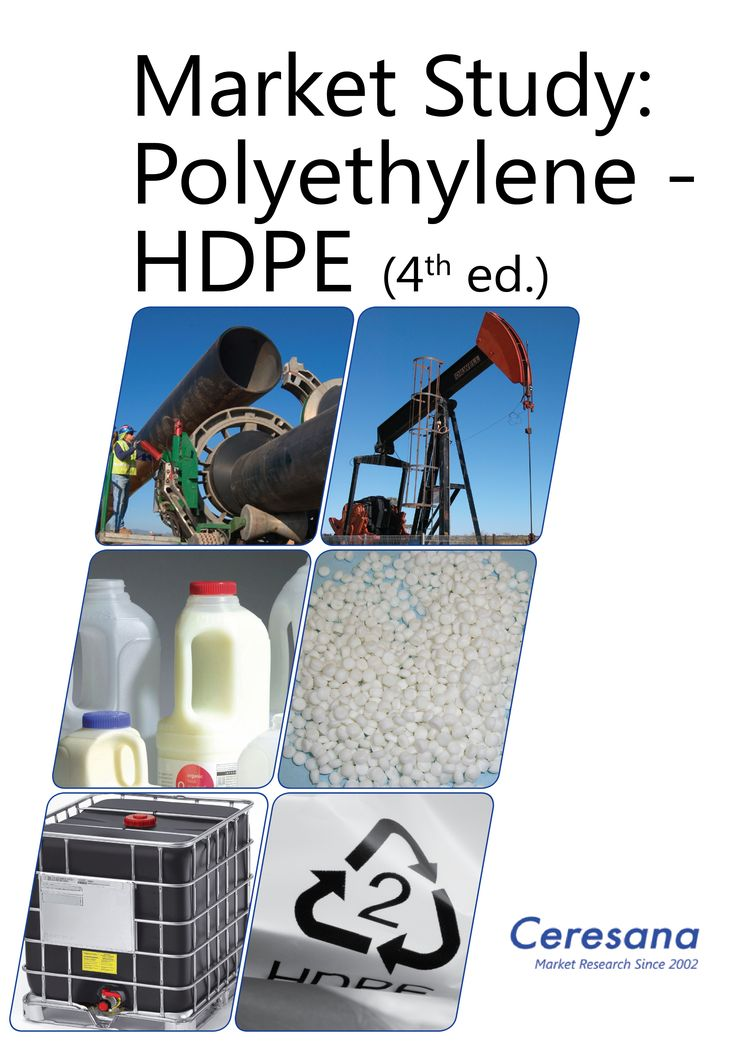 High-density polyethylene (HDPE) is the type of polyethylene offering the highest rigidity and least flexibility. The rigid and slightly hard plastic is highly suitable for a broad range of applications such as rigid containers and tubes as well as a variety of everyday household goods such as flasks, clothes pins, or handles of dishwashing brushes. Further, HDPE is processed into films. Ceresana already publishes the fourth study on the world market for HDPE.
