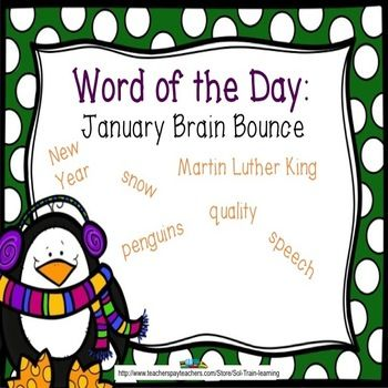 This great vocabulary game by #SOL Train Learning is based on words from our January Word of the Day calendar. It is one of our new Brain Bounce games to  help students learn what these words mean as they answer questions.  The teacher can just have 2 teams and ask questions as a class game.  Kids love it! You can also use these cards in a center or as a Scoot game.$ We also have other products that go with our January Word of the Day Vocabulary #January#vocabulary#Word of the Day#teaching…