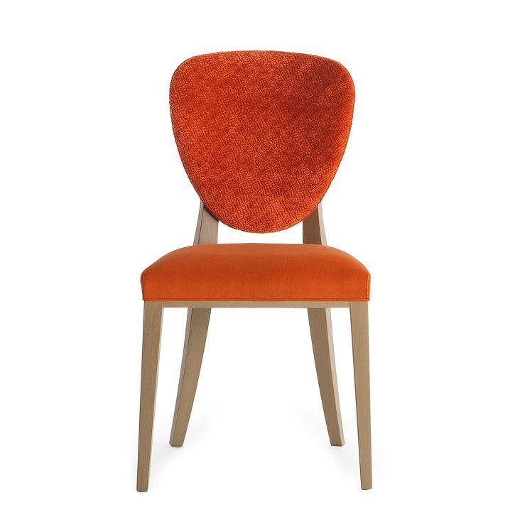 Cammeo 02611, Sedia in legno massiccio, seduta e schienale imbottiti, copertura in tessuto, stile moderno