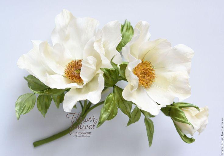 """Купить Шиповник-дикая роза """"Утро невесты"""" из шелка. Мастер класс - белый, шиповник"""