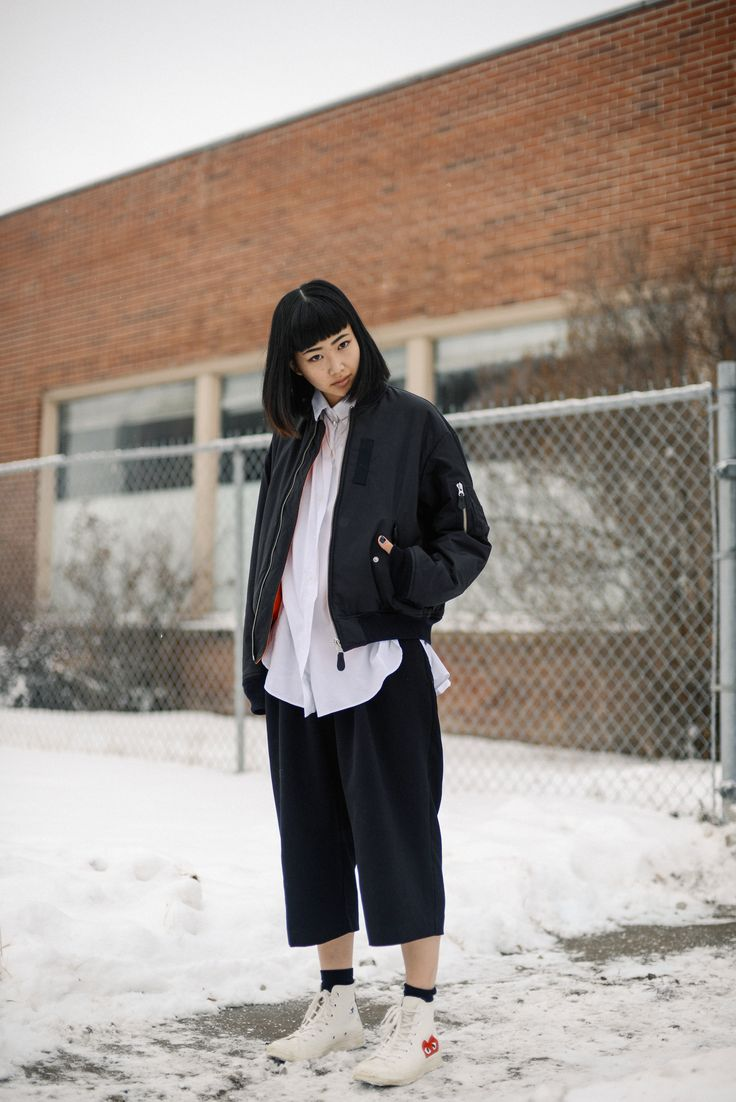 Alyssa Lau from the Ordinary People blog wearing G.V.G.V., vintage Calvin Klein, and CDG x Converse. Based in Edmonton, Alberta, Canada.