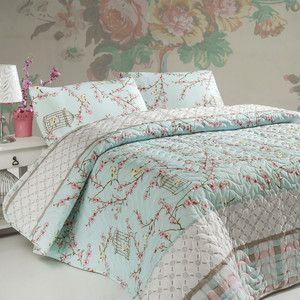 Sada prošívaného přehozu přes postel a dvou polštářů Birdcage Turquoise, 200x220 cm