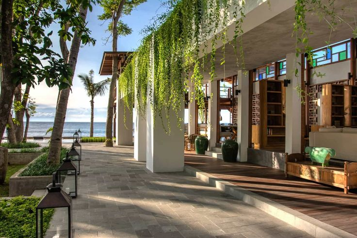 Lombok Hotel Photography - Jeeva Santai - lounge and restaurant architectural details late afternoon sun and shadows