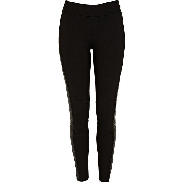 River Island Black quilted side panel leggings ($16) ❤ liked on Polyvore featuring pants, leggings, sale, river island, side panel leggings, quilted pants, quilted leggings and river island leggings