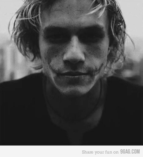 Heath Ledger with unfinished Joker makeup, what a man, he is missed