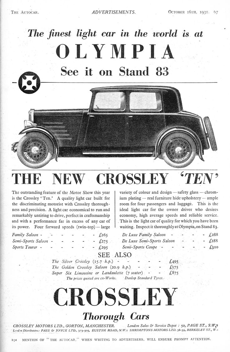 43 best Crossley images on Pinterest   Old school cars, Retro cars ...