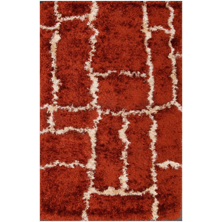 ABC Hand-tufted Brown Shag Rug (5' x 8') (5x8), Size 5' x 8' (Polyester, Geometric)