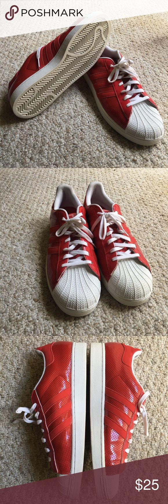 Red Adidas shell top sneakers Red and white shell topped Adidas sneakers. Men's size 12. Moderately worn and in good condition (8/10). Won't come in original boxing. adidas Shoes Sneakers