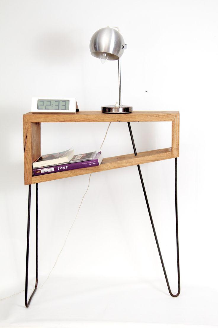 Table de chevet Detroit, en chêne et métal cintré. : Meubles et rangements par antoine-g-mobilier