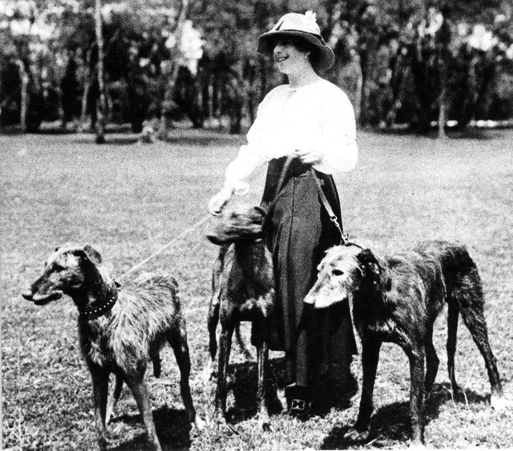 Karen Blixen with her Scottish Deerhounds in 1920's Kenya