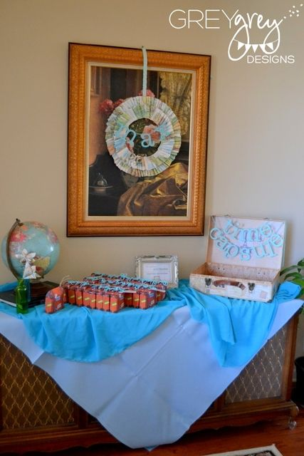 """Photo 1 of 32: Travel, Vintage, Maps, Globes, World / Baby Shower/Sip & See """"Boy Meets World Baby Shower"""" 