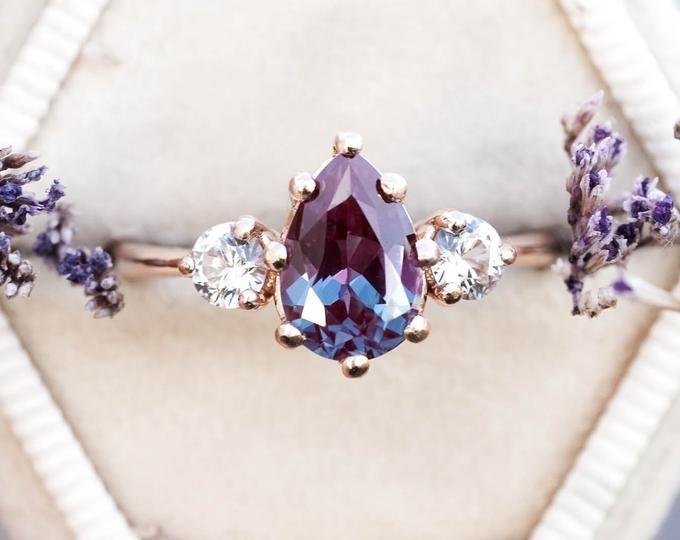 eb370b1fa019d Alexandrite sapphire three stone engagement ring, pear engagement ...