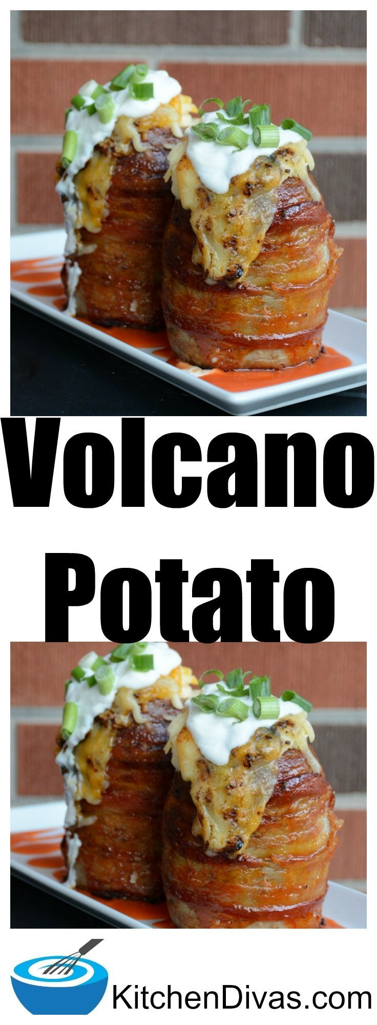 Volcano Potatoes are fabulous.  Who doesn't love a potato that looks like this?  They are as delicious as they look.   We do not always include cooked bacon, sausage or ham and you really do not have  to, these potatoes are yummy either way! #potato #reci