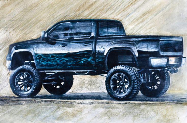 sketch of black lifted Chevrolet Silverado truck ...