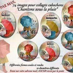 """Collage digital pour cabochon bijoux """"chantons sous la pluie"""", images digitales annahé création, envoi par mail"""