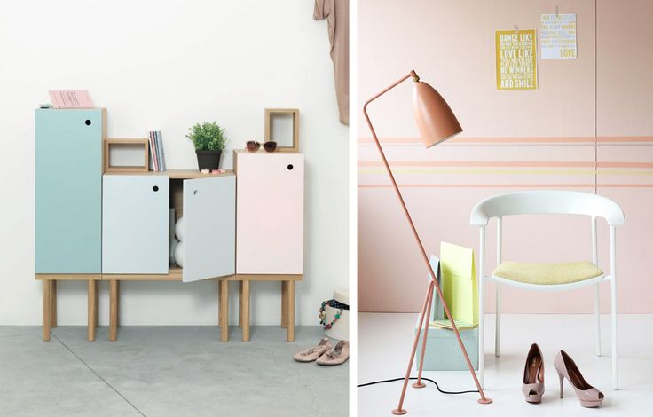 Arredamento color pastello, mobiletto e sedia  #pastel #color #inspiration #home #decor