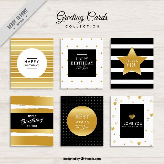 Greeting cards decorated with golden elements Free Vector