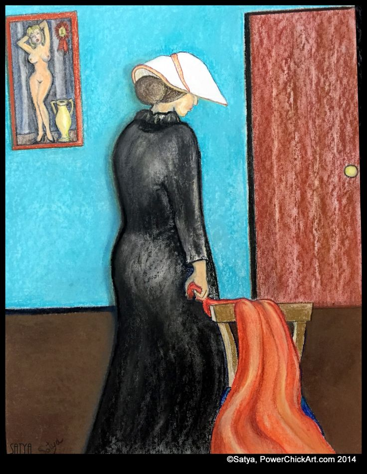 "http://www.facebook.com/PowerChickArt    27 inch pastel is called"" Objectification"".  It's odd, the people who have seen this new piece all had very different takes on it. Some saw depression, self-esteem problems, aging, affairs, others said emotions like embarrassment, sadness, or shame. ""Is she going in or out?"" they asked. I keep thinking art is seen not as it is, but as we are. http://PowerChickArt.com"