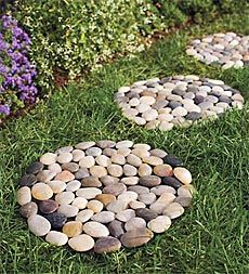 Home-made stepping stones with bags of rocks from the Dollar Tree.