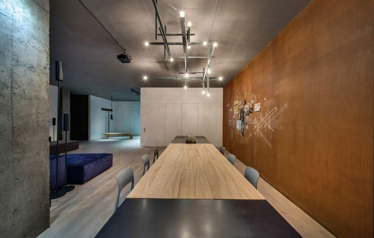 Loft: Cool Urban Loft in Kiev, Ukraine Designed by 2B Group, Urban Loft Dining Area with Long and Huge Table and Simple Chairs and Cool Wall and Ceiling Decorations