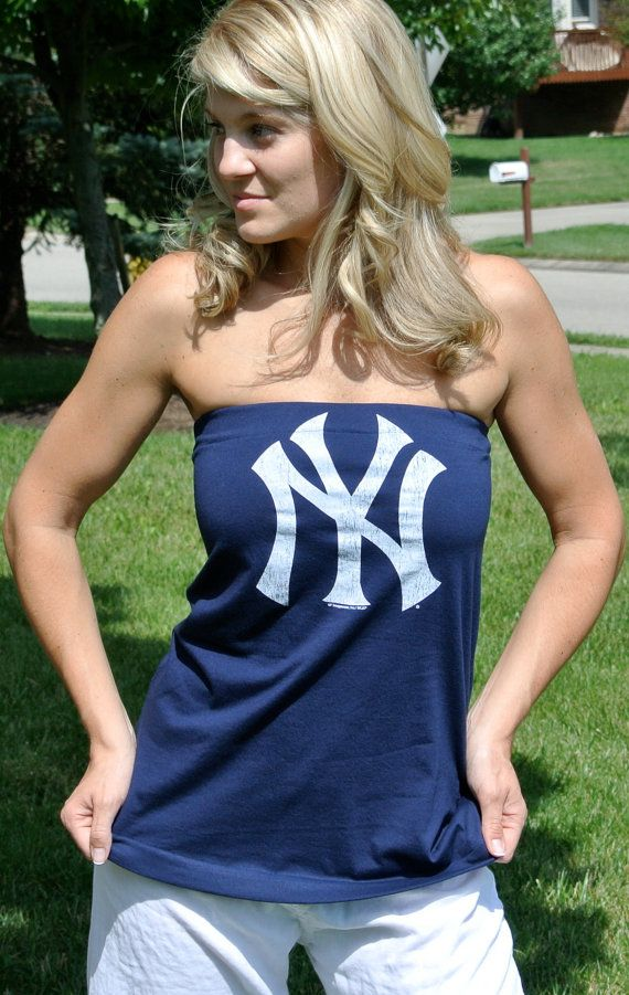 women 39 s blue new york yankees tube top tee shirt small. Black Bedroom Furniture Sets. Home Design Ideas