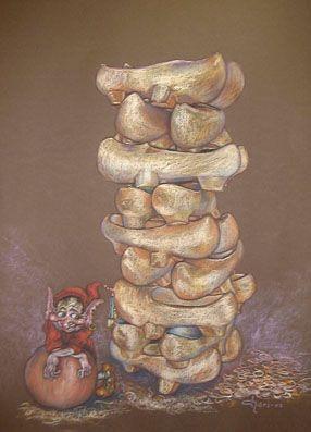 """""""El Trasgo y las Madreñas"""" Cuadro pintado al Pastel por Chari González."""
