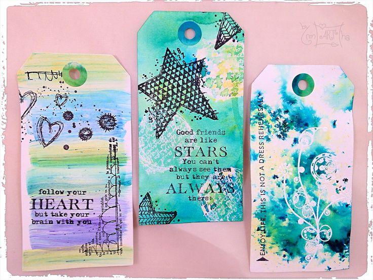 Mixed media tags with brusho gesso and carabelle studio stamps