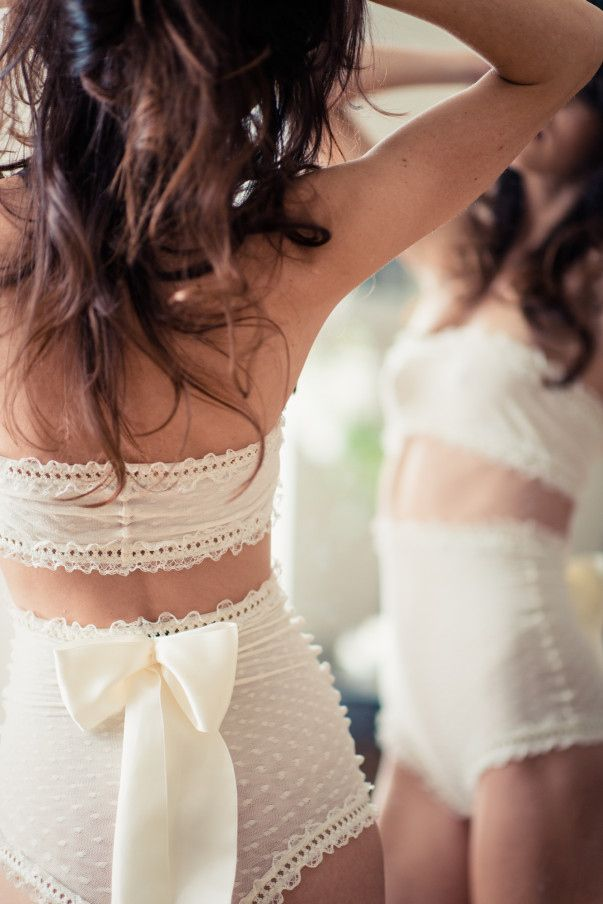 Bow-Back High-Waisted Knickers | 35 Dreamy Wedding Lingerie Ideas. Love this set.