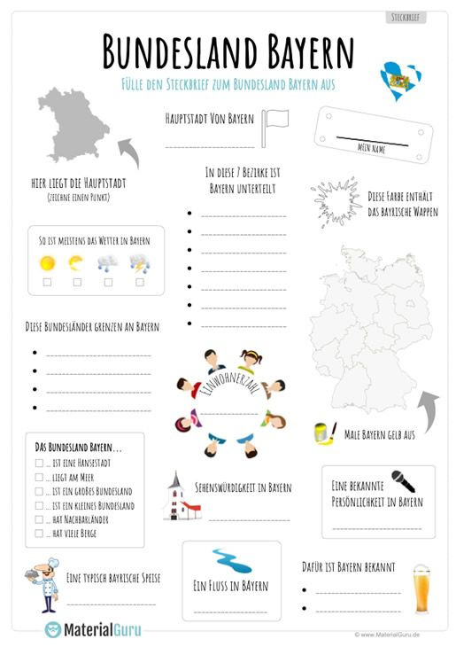 arbeitsblatt steckbrief zum bundesland bayern schule bundesland bayern arbeitsbl tter und. Black Bedroom Furniture Sets. Home Design Ideas