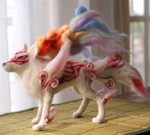 Stunning Handmade Needle Felt Shiranui From Okami: Felt Dolls, Felt Crafts, Needlefelt Okami, Google Search, Needlefelt Art, Felt Shiranui, Crafty Felt, Needle Felting, Needle Felted Okami Shiranui