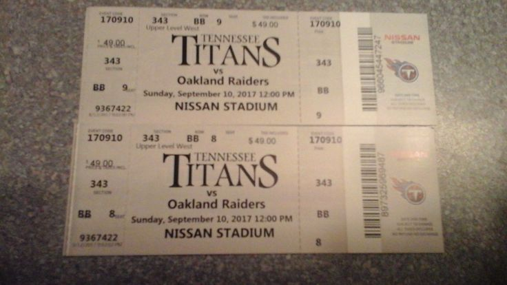 This is a pair of tickets for next Sunday 9/10/17. I have to sell them quickly as I have to mail them from OREGON. I am not able to attend. #titans #nissan #stadium #tennessee #raiders #available #oakland #tickets