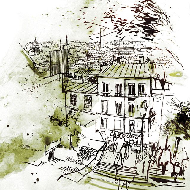 Jeremy Soudant - reportage, drawing on site at Kew