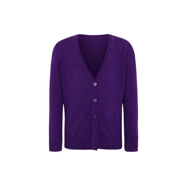 George Girls School Cardigan ($5.16) ❤ liked on Polyvore featuring tops, cardigans, purple, v-neck cardigan, purple top, v-neck tops, cardigan top and cotton v neck cardigan