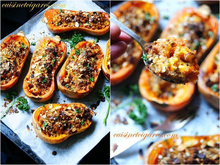 Délicieuses Butternuts rôties, garnies quinoa, amandes et parmesan