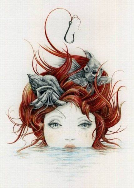 The Little Mermaid - Courtney Brims: Courtney Brimmed, Hair Art, The Artists, Red Hair, Illustration, Courtney Love, A Tattoo, Mermaids Tattoo, The Little Mermaids