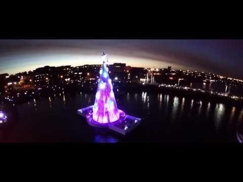 Floating Christmas Tree Lights Up Geelong, Victoria, Australia. 2014