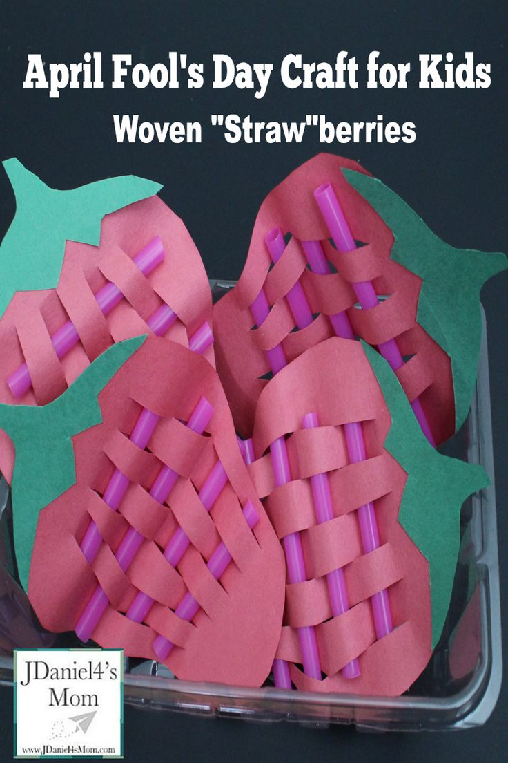 """April Fool's Day Craft for Kids- Woven """"Straw""""berries: Yep! They are berries crafted with straws. This is a fun fine motor craft."""