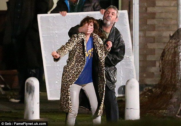 Intense: Anna Friel and Neil Morrissey filmed a violent fight scene on the set of Urban And The Shed Crew in Leeds, England last week