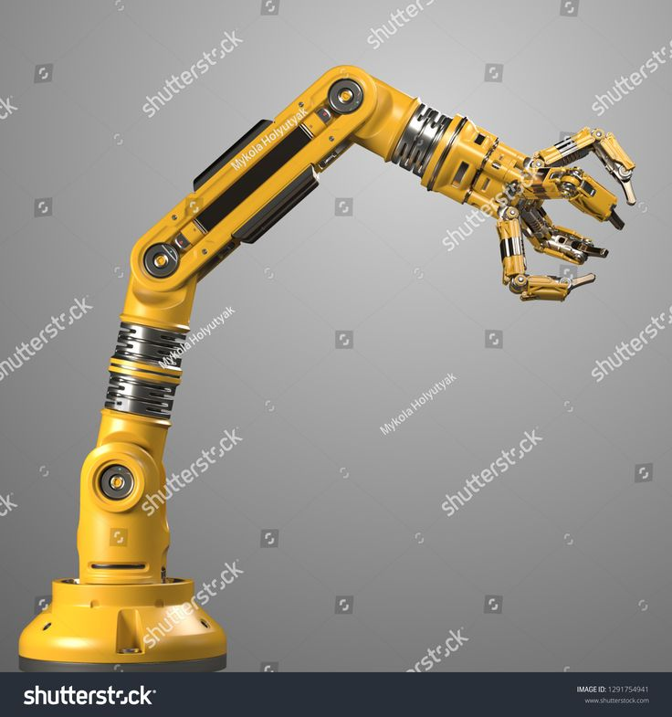 Robotic arm. Yellow mechanical hand. Industrial robot manipulator. Futuristic industrial technology. Isolated on grey background. 3D Render #Sponsored…