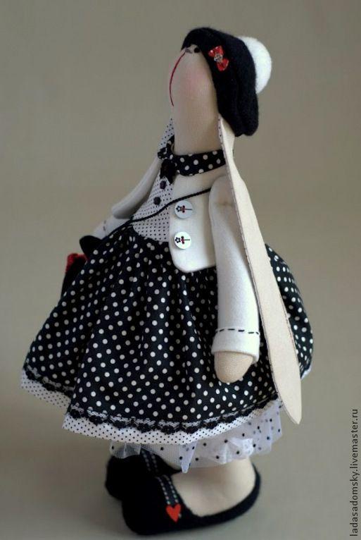 Зайка Colette (Колетт) - белый,бело-черный,черное и белое,зайка девочка