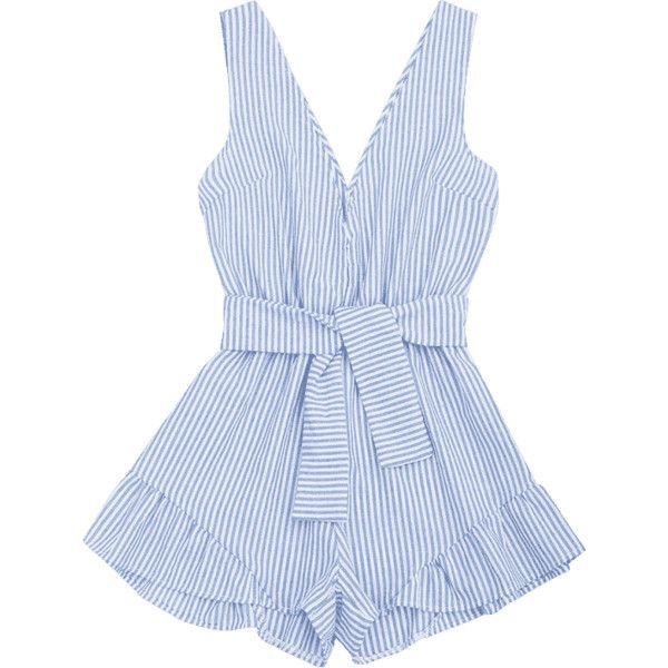 Plunging Neck Belted Striped Romper (€14) ❤ liked on Polyvore featuring jumpsuits, rompers, blue jump suit, striped jumpsuit, plunge neck romper, playsuit jumpsuit and plunging neckline romper
