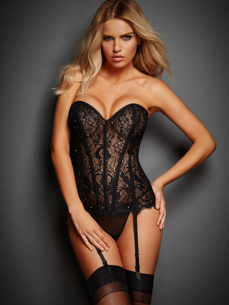 Victoria's Secret: New Covered In Diamonds Corset. Sexy black corset. See more of them >>> http://justbestylish.com/9-sexy-corsets-you-should-buy/