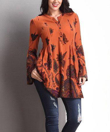 Orange Paisley Pleated Bell-Sleeve Tunic - Plus #zulily #zulilyfinds
